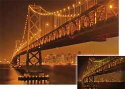 Golgen Gate ve tmě, San Francisko, USA