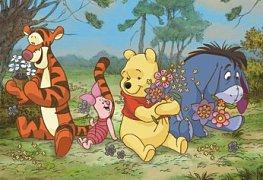 Medvídek Pú na rozkvetlé louce