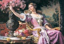 Dáma v růžových šatech
