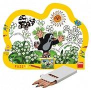 Krteček (puzzle s pastelkama)