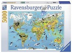 Mapa světa se zvířatama