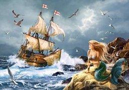 Mořská panna s námořní lodí
