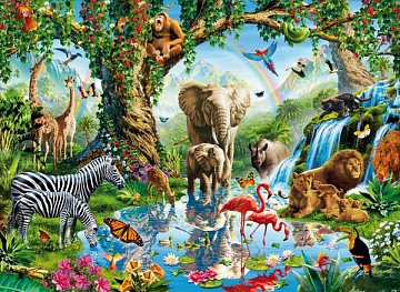 Puzzle 2000,Zvířata u jezera - 1