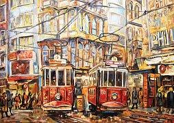 Stará trať ve čtvrti Beyoglu, Istanbul, Turecko